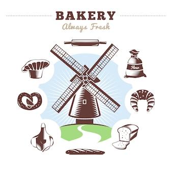 Старинная мельница для хлебобулочных изделий и изолированная пекарня с названием пекарня всегда свежая