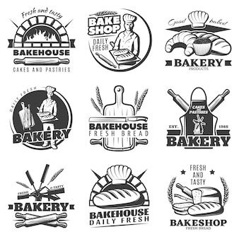 Vintage bakery emblems set
