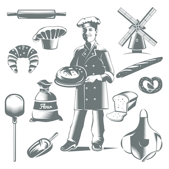 Vintage bakery icon set with isolated gray elements cakes and cook