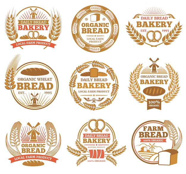 Vintage bakery labels with wheat ears and bread symbols. bakery vintage badge and emblem illustration