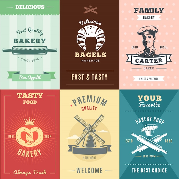 Vintage bakery posters with inscriptions rolling pins bagels chef pretzel crown mill and hat