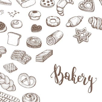 Vintage bakery products sketch background