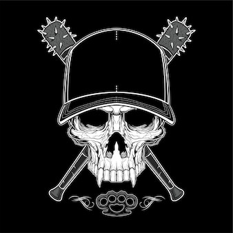 Vintage bandit skull in hipster cap and skeleton hands holding crossed baseball bats isolated illustration