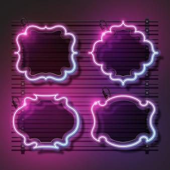 빈티지 배너 디자인 네온 배너 세트입니다. 분홍색과 보라색 점차 배너 디자인