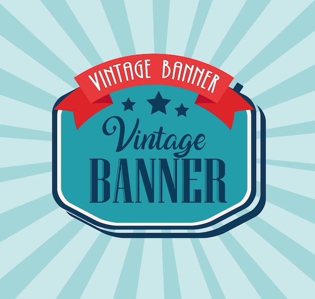 Vintage banner with elegant frame and ribbon design