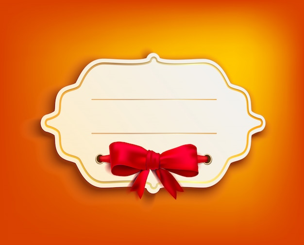 Vintage banner with gold frame and red bow on orange background