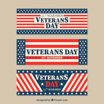 Vintage banners american flag of veterans day