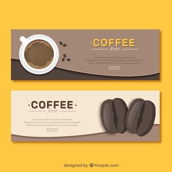 커피와 커피 콩에 대 한 빈티지 배너