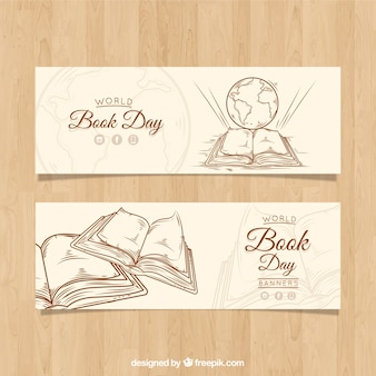 Vintage banners for the world book day