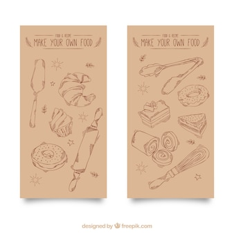 Vintage banners of hand drawn bakery items
