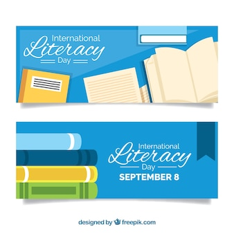 Vintage banners of literacy day books
