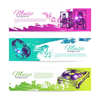 Vintage banners of music design. set of hand drawn dj backgrounds