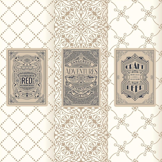 수직 레이블 포장 프레임 디자인의 빈티지 배너 세트
