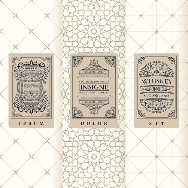 Винтажные баннеры набор вертикальных этикеток, упаковка рамок