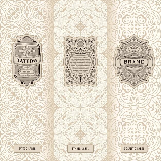 Vintage banners set of vertical labels packaging frames design