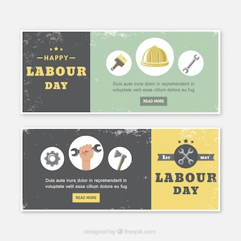 Vintage banners with decorative elements for labour day