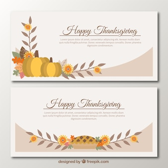 Vintage banners with details of thanksgiving