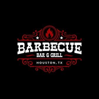 Винтажный барбекю барбекю барбекю коптильня бар и гриль дизайн логотипа