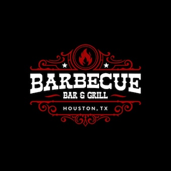 Vintage barbecue barbeque bbq smokehouse bar and grill logo design