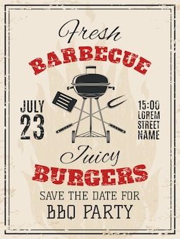 Vintage barbecue party invitation. bbq food flyer template.  illustration.