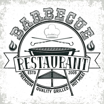 Vintage barbecue restaurant logo design
