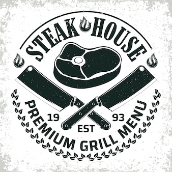 Vintage barbecue restaurant logo ,  grange print stamp, creative grill bar typography emblem,