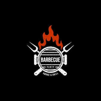 Vintage barbeque party smoke & grill  logo design premium vector