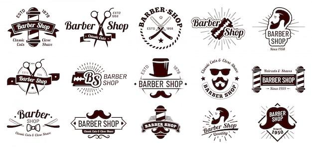 ビンテージの理髪店のバッジ。紳士の散髪スタイリング、理髪店のかみそり、ひげそりサロン。マン髪散髪バッジイラストセット