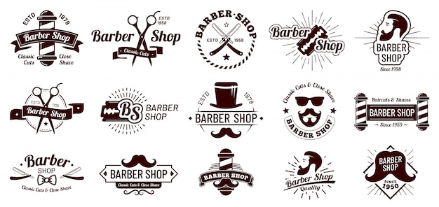 Vintage barber badges. gentleman haircut styling, barbershop razor and shave salon. mans hair haircuts badge  illustration set