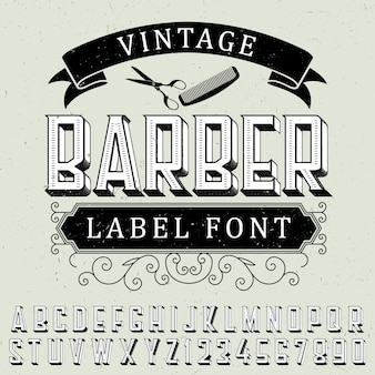 ほこりっぽい上のサンプルラベルデザインのビンテージ理髪店ラベルフォントポスター