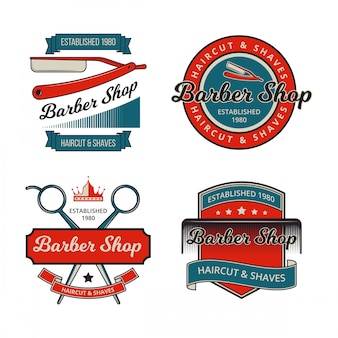 Vintage barber shop badge collections