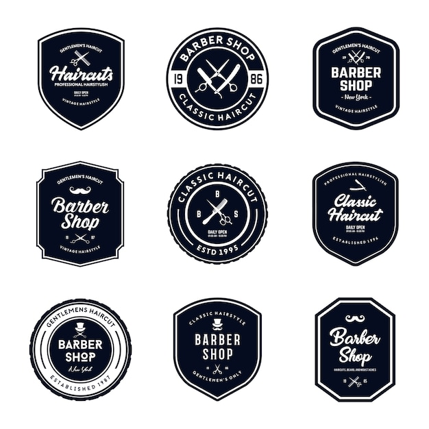Vintage Barber Shop Badges Set