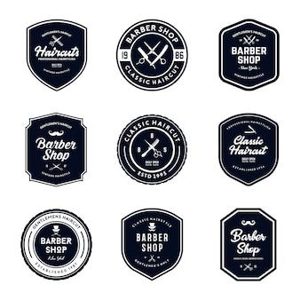 Vintage barber shop badges set