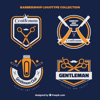 Vintage barber shop logo collection