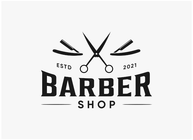 Винтажный дизайн логотипа парикмахерской, вдохновляющий