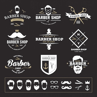 Vintage barber shop logo and vector elements