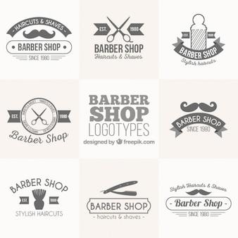 Vintage barber shop logos set