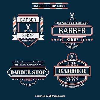 Vintage магазин парикмахера логотипы с красными деталями