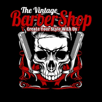 The vintage barber shop, skull and comb.