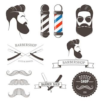 ヴィンテージ理髪店のツールとロゴのデザイン要素