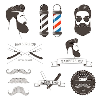 Vintage barber shop tools and design element for logos