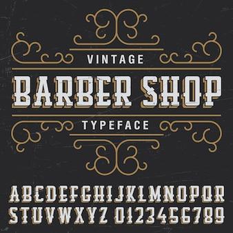 Manifesto di carattere tipografico del negozio di barbiere vintage con disegno di etichetta di esempio sul nero