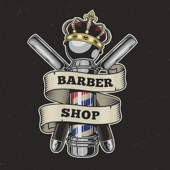 Vintage barbershop colorful illustration