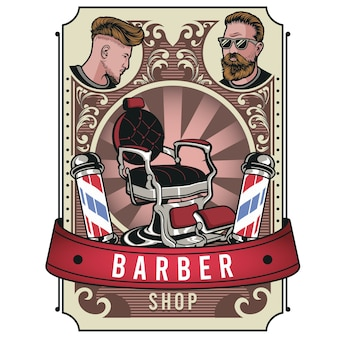 Vintage barbershop colorful
