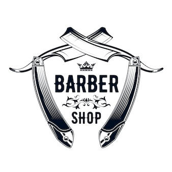 Vintage barbershop emblem - old straight razor, barber shop logo