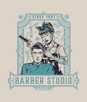 Vintage barbershop emblem with beautiful tattooed female barber with comb and straight razor cutting hair of man isolated vector illustration