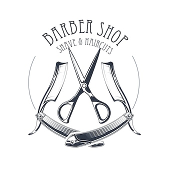 Vintage barbershop or hairdressing salon emblem, scissors and old straight razor, barber shop logo