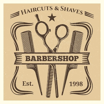 Vintage barbershop label desing on grunge background