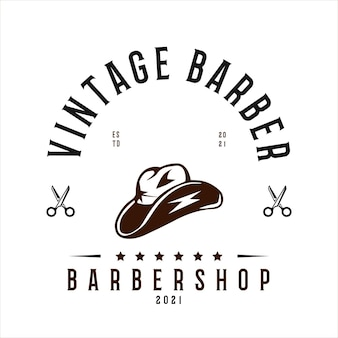 Vintage barbershop logo vector template cowboy hat and scissors vector for your business