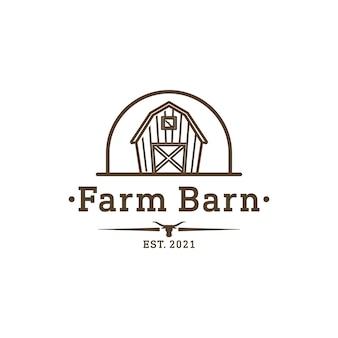 ロングホーンアイコンのロゴデザインのインスピレーションとヴィンテージ納屋ファーム